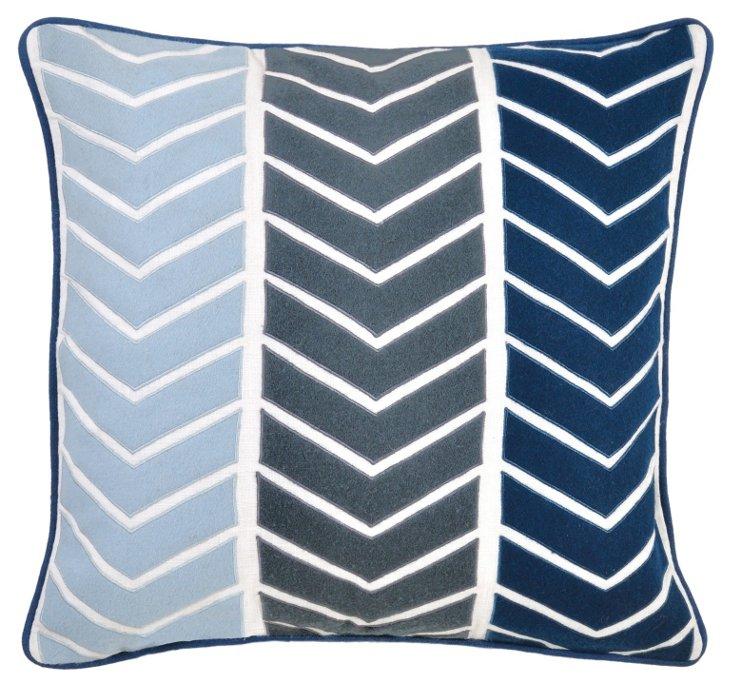 Yohji 22x22 Cotton Pillow, Blue