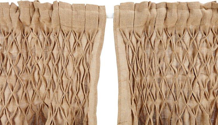 Set of 2 Smocked Jute Curtains, Khaki
