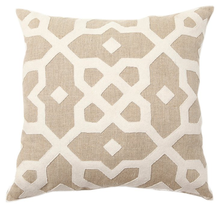 Tile 22x22 Linen-Blend Pillow, Natural