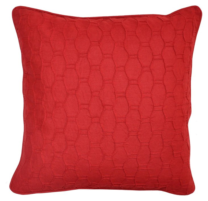 Honeycomb 22x22 Linen-Blend Pillow, Red