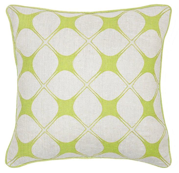 Gazer 18x18 Cotton-Blend Pillow, Celadon