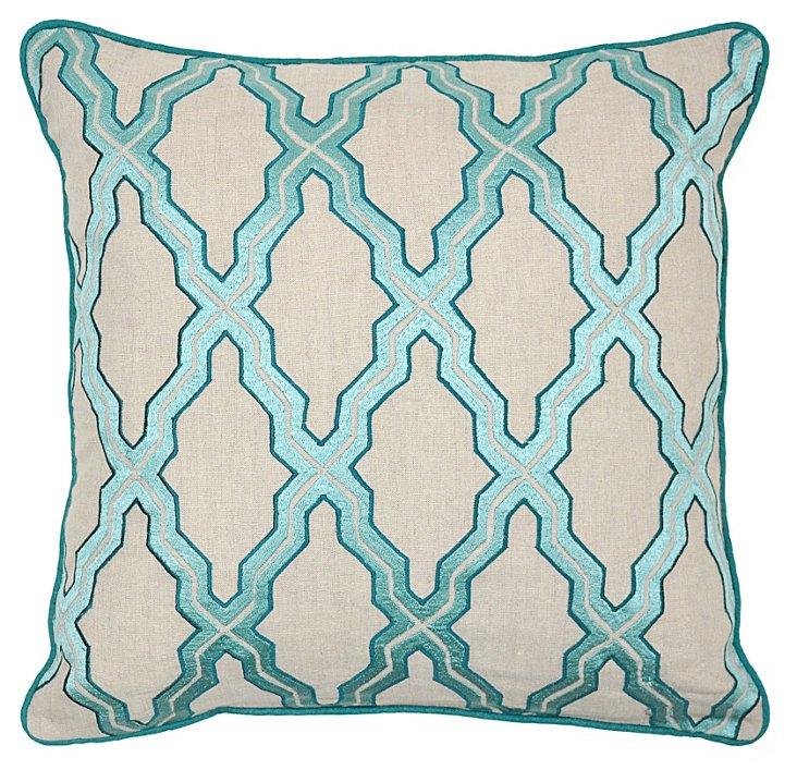 Cassidy 22x22 Linen Pillow, Teal