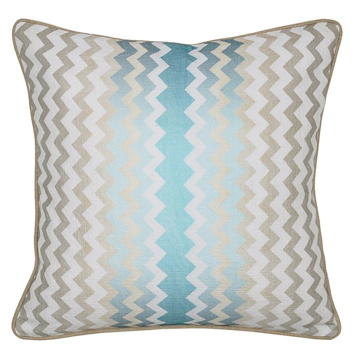 Newport 18x18 Linen Pillow, Blue
