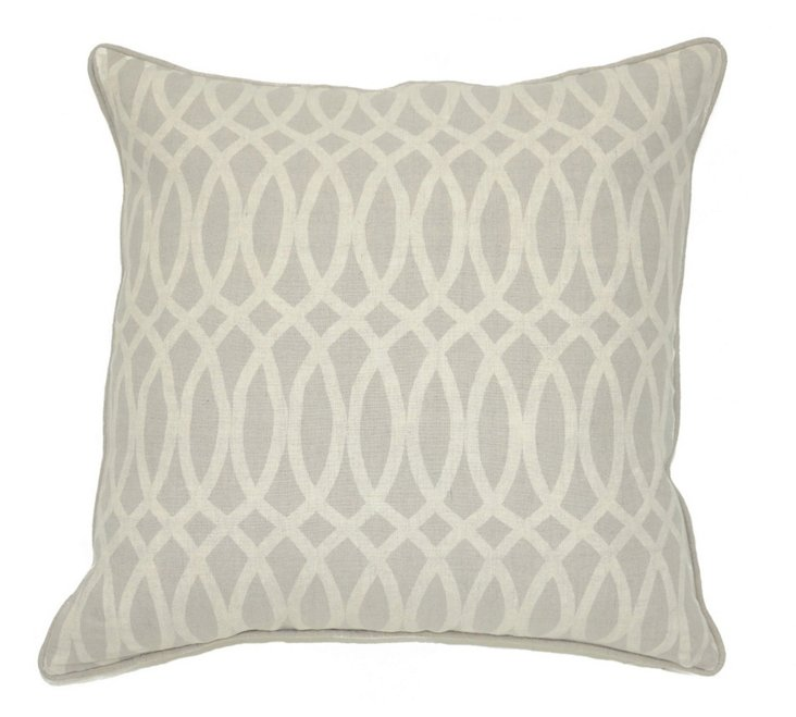 Geo 22x22 Linen Pillow, Gray