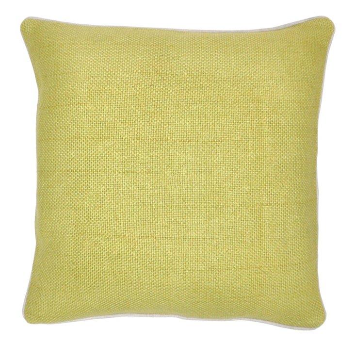 Piping 20x20 Linen Pillow, Straw
