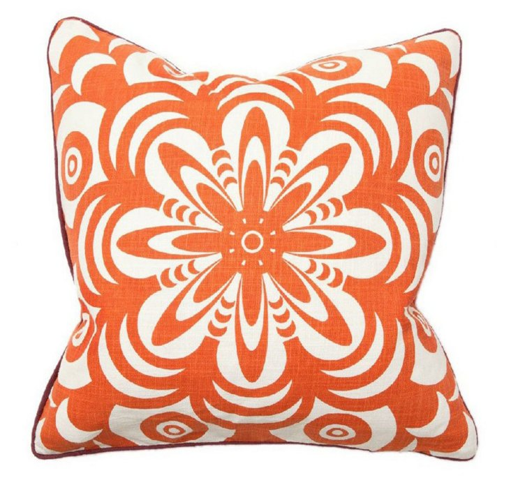 Burst 22x22 Cotton Pillow, Orange