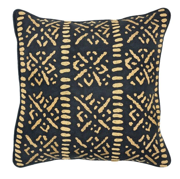 Graphic 22x22 Cotton Pillow, Black