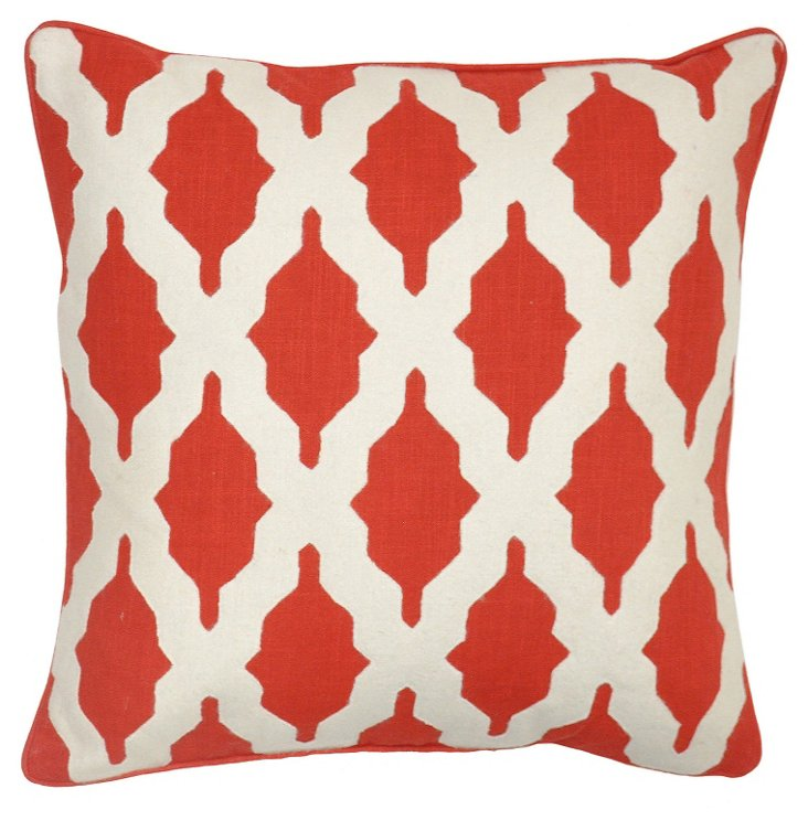 Louise 22x22 Cotton Pillow, Red