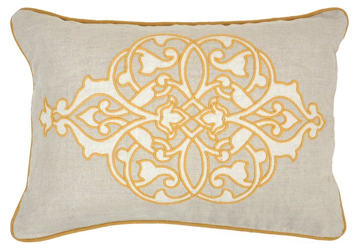 Motif 14x20 Embroidered Pillow, Gold