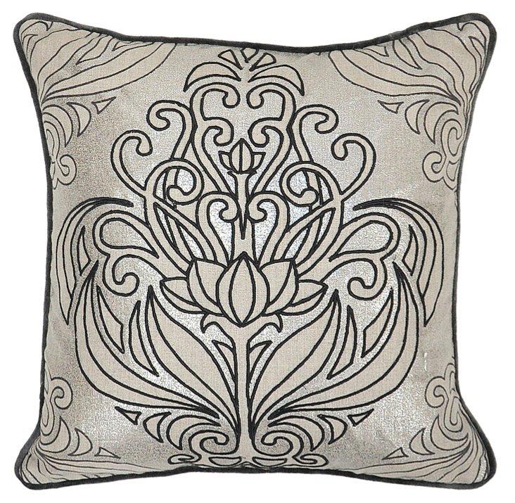 Isabel 18x18 Linen Pillow, Gray