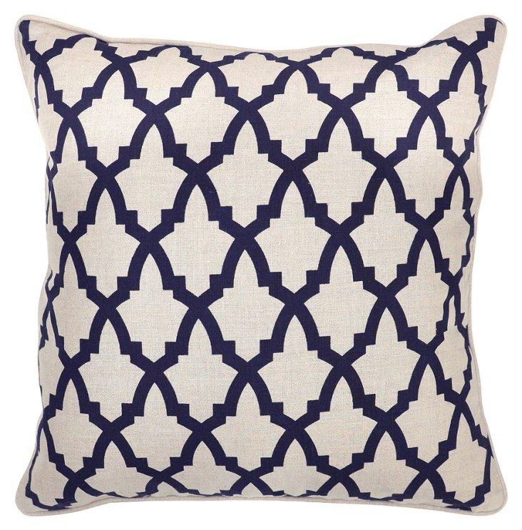 Lattice 22x22 Linen Pillow, Navy