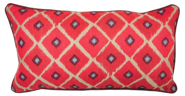 Ikat 14x26 Linen Pillow, Red