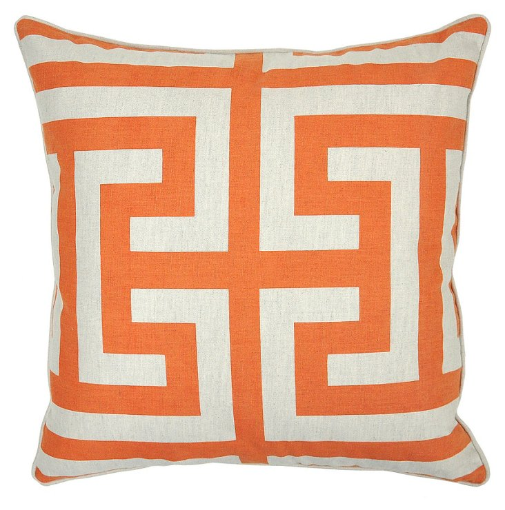 Geo 22x22 Cotton-Blend Pillow, Orange