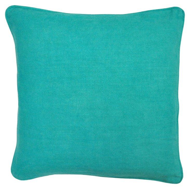 Metro 22x22 Linen Pillow, Turquoise