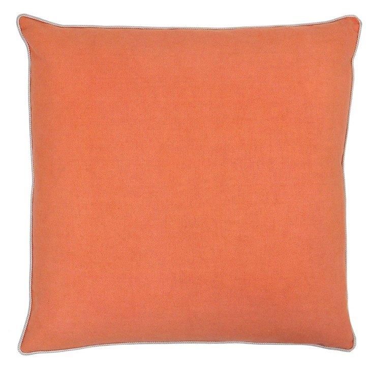 Jamie 22x22 Cotton Pillow, Salmon