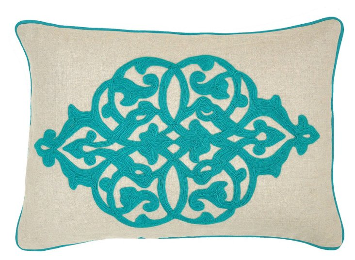Motif 14x20 Cotton Pillow, Turquoise