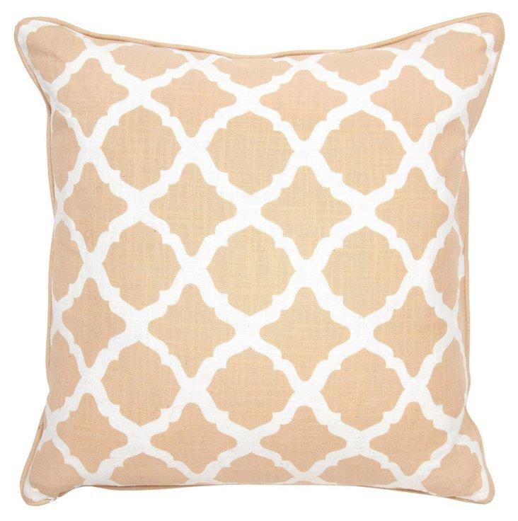 Lattice 22x22 Cotton Pillow, Beige