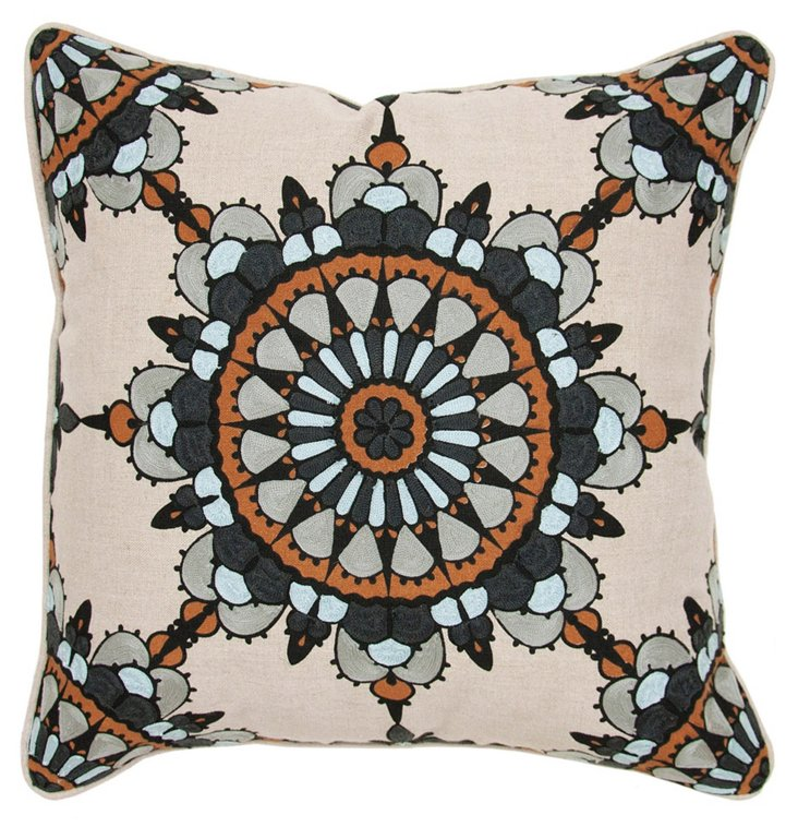 Charm 18x18 Cotton Pillow, Brown