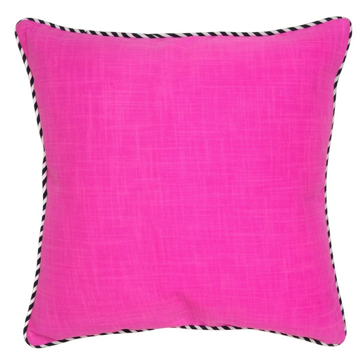 Piping 22x22 Cotton Pillow, Pink