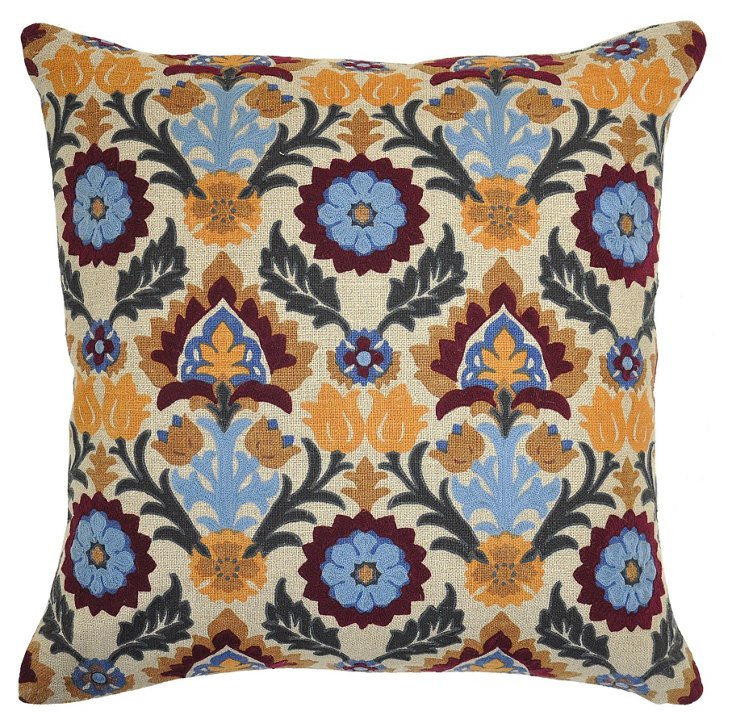 Suzani 18x18 Cotton Pillow, Blue