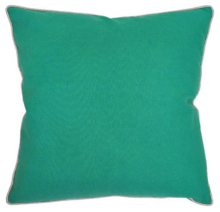 Solid 22x22 Cotton Pillow, Green