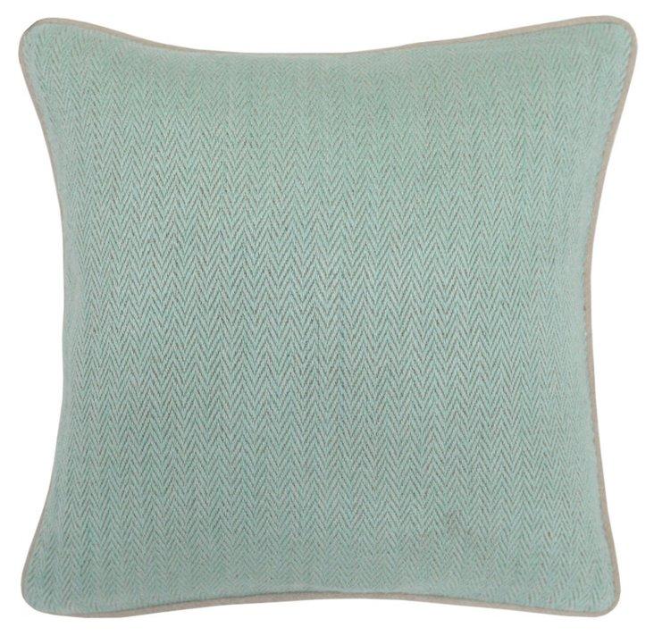 Herringbone 18x18 Cotton Pillow, Mint