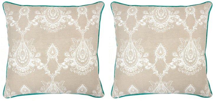 S/2 Margot 22x22 Cotton PIllows, Natural