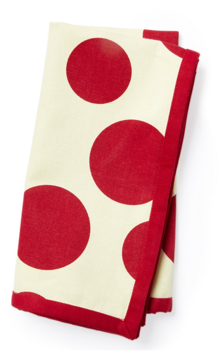 S/6 Red Dot Napkins
