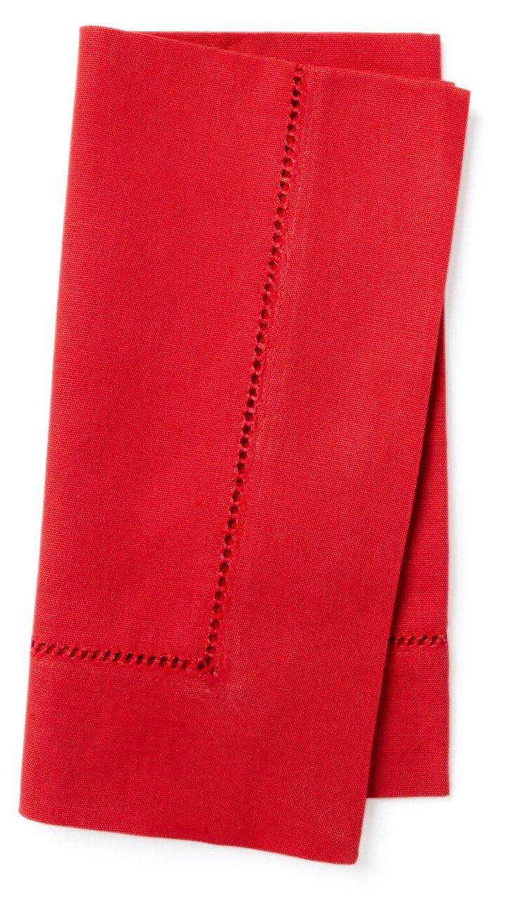 S/12 Hemstitch Napkins, Red
