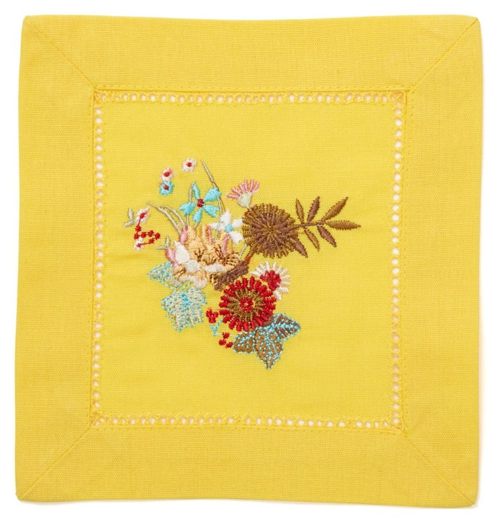 S/12 Harvest Cocktail Napkins, Yellow
