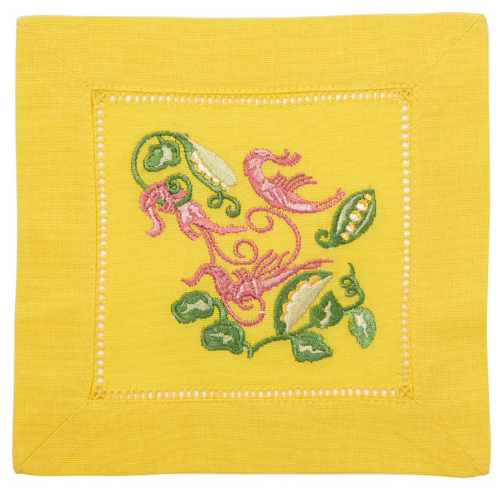 S/12 Shrimp Cocktail Napkins, Yellow
