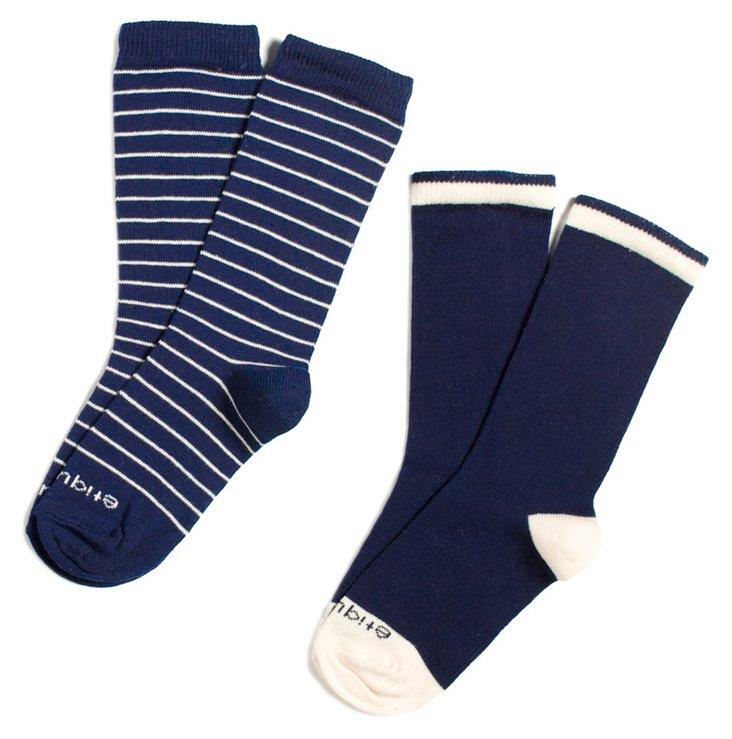 S/4 Kids' Happy Stripes Socks, Blue/Cream
