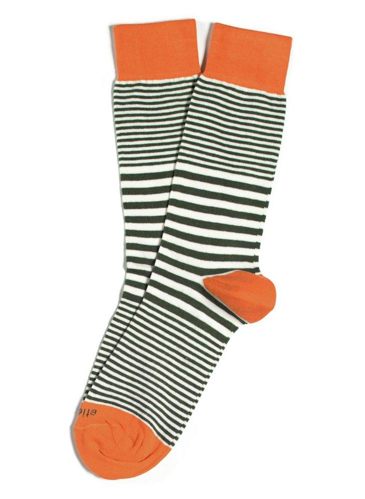 S/2 Men's Sailor Stripes Socks, Olive
