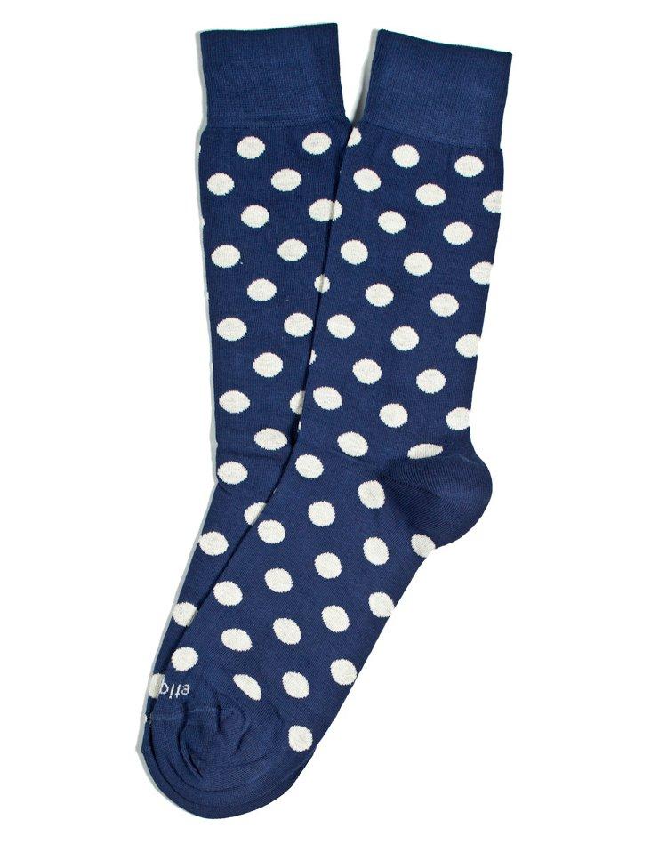 S/2 Women's Polka Dots Socks, Blue
