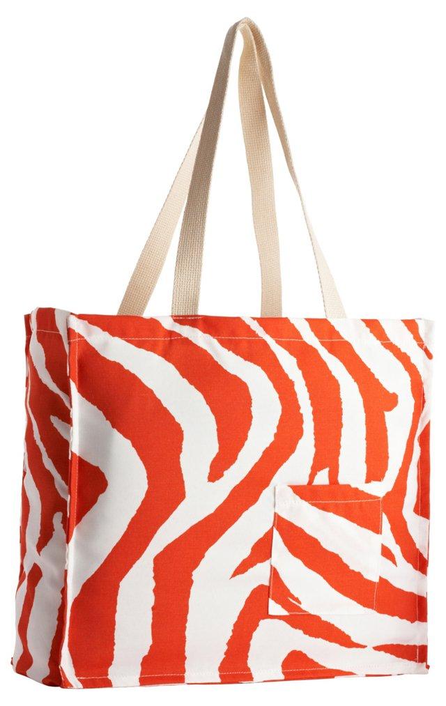 Zebra Tote Bag, Orange
