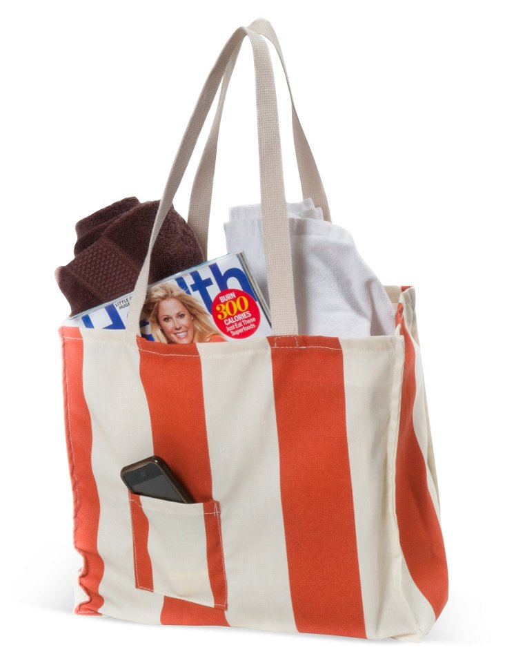 Vertical Striped Tote, Burnt Orange
