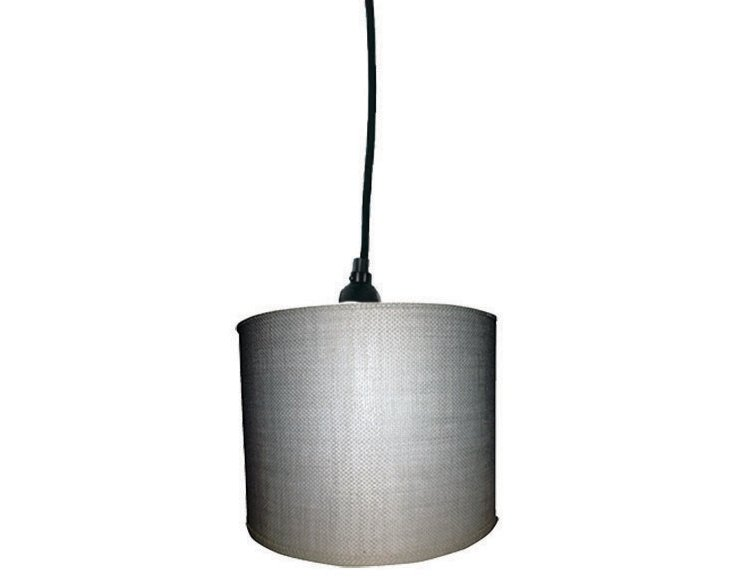 White Burlap Drum Pendant Shade