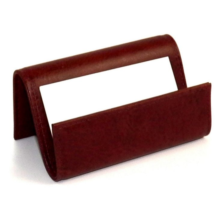 Leather Business Card Holder, Brown