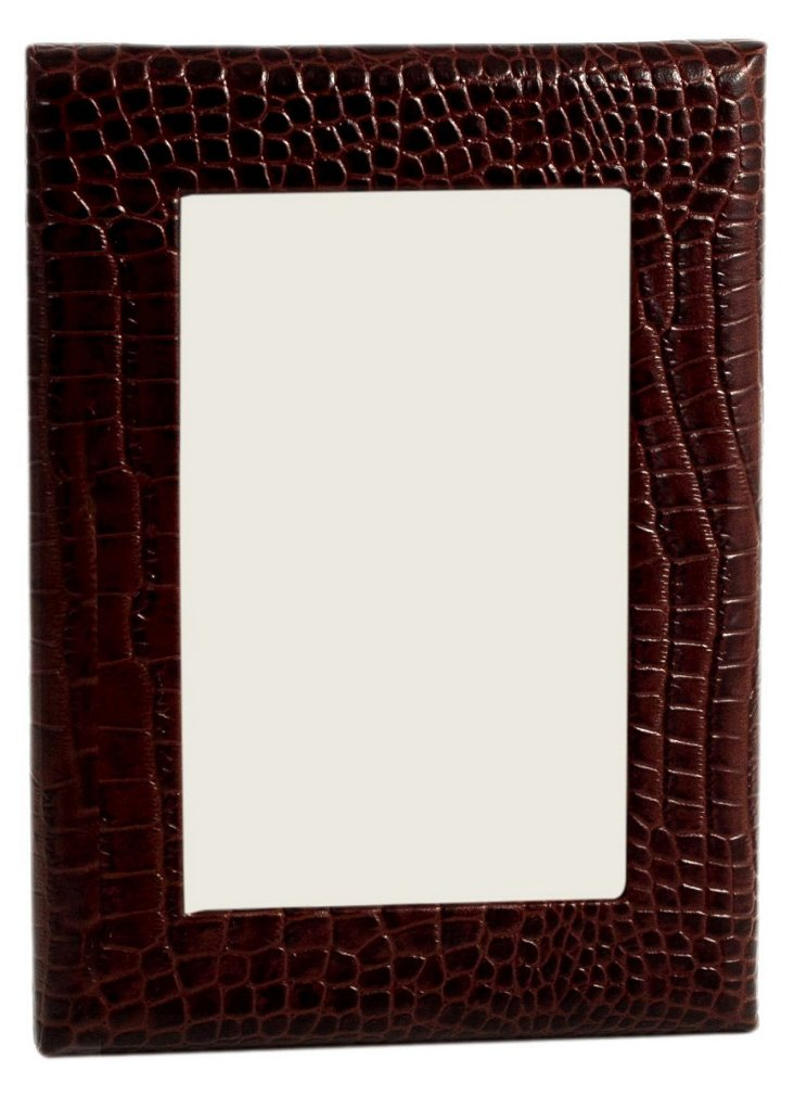 4x6 Leather Picture Frame, Brown