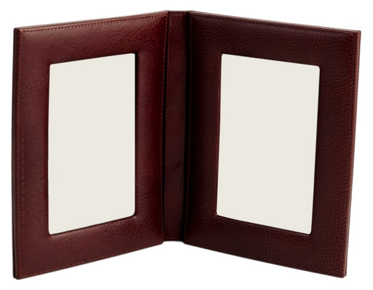 """Double 4""""x 6"""" Frame, Tan Leather"""