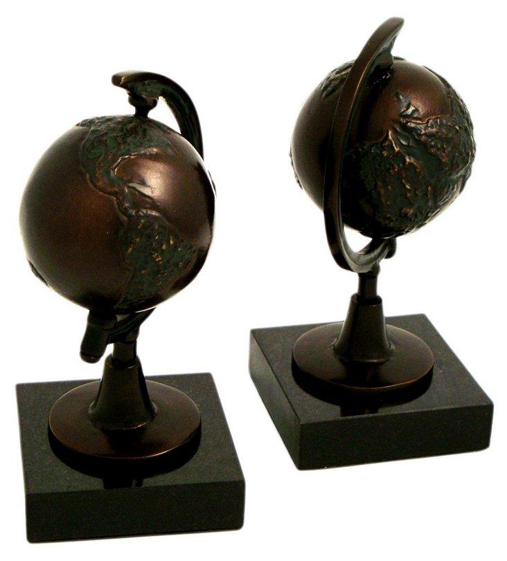 S/2 Globe Bookends