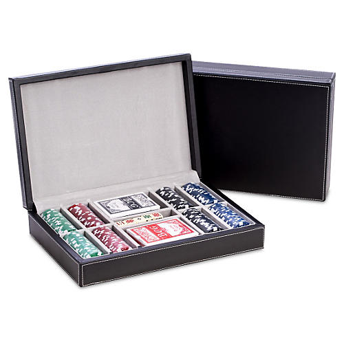 Leather Poker Game Set, Black