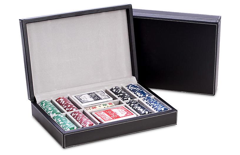 Leather Poker Game Set, Black