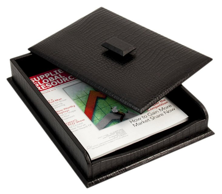 Leather Letter Tray, Black