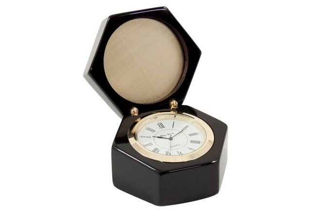 Lacquered Black Wood Quartz Clock