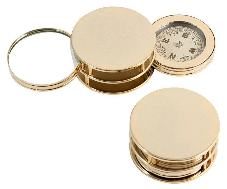 Compass Paperweight & Magnifier, Gold