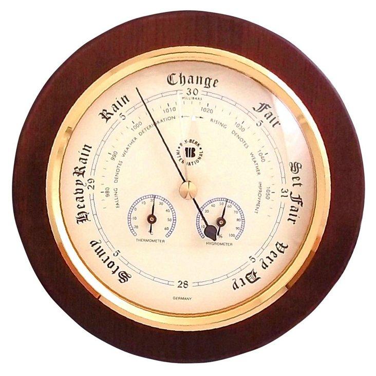 Brass Weather Instrument, Oak/Brass