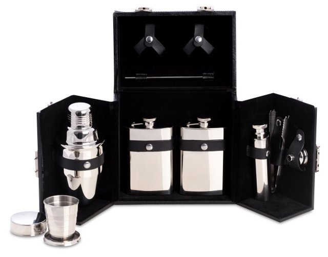 10-Pc Stainless-Steel Flask Set, Black
