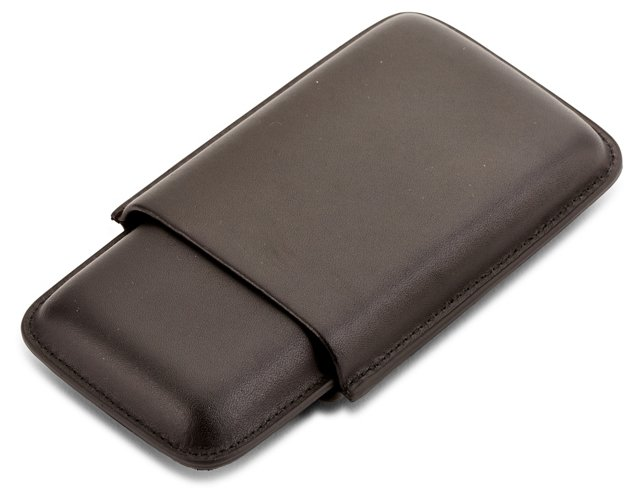 Three Cigar Leather Case, Black