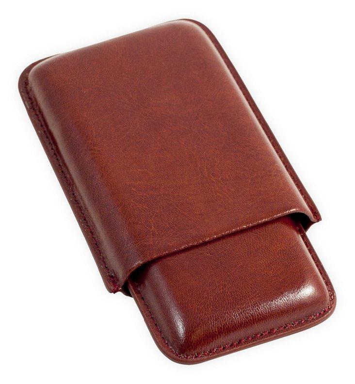 Three-Cigar Leather Case, Cognac